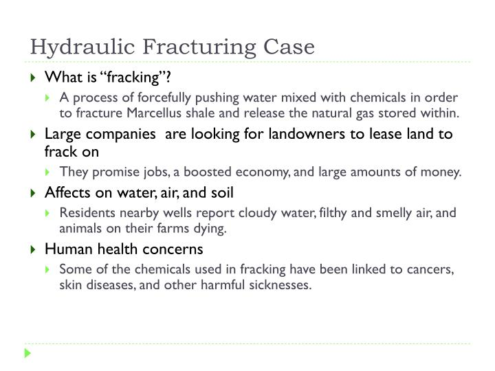 Hydraulic Fracturing Case
