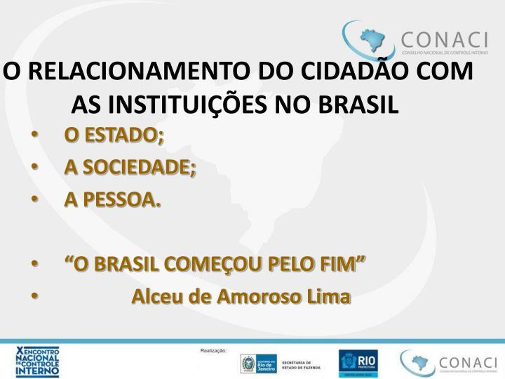 O RELACIONAMENTO DO CIDADÃO COM AS INSTITUIÇÕES NO BRASIL