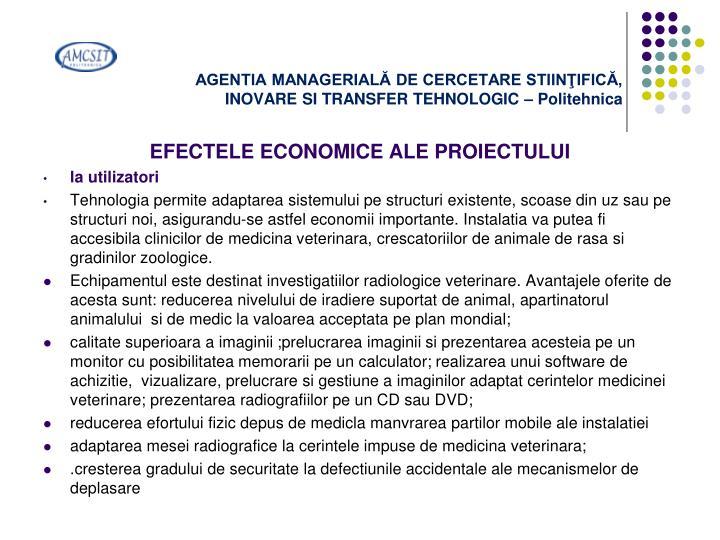 AGENTIA MANAGERIALĂ DE CERCETARE STIINŢIFICĂ,