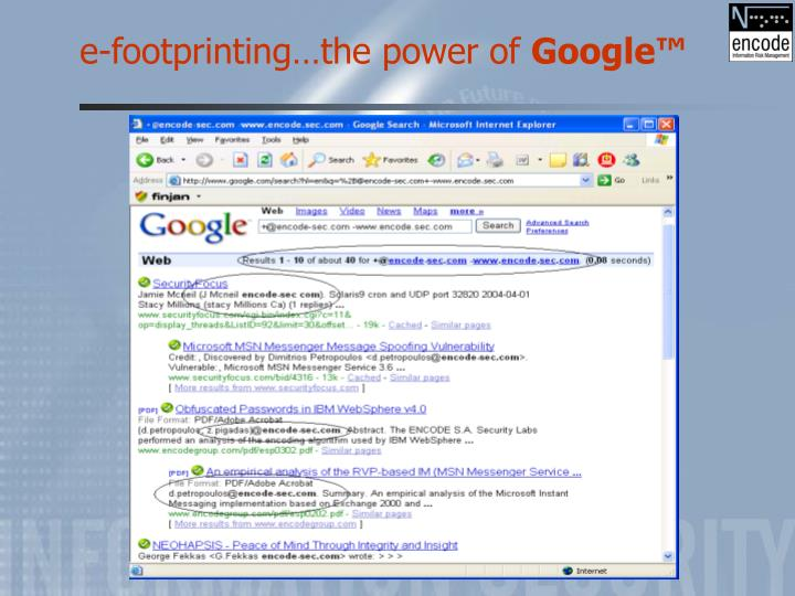e-footprinting…the power of