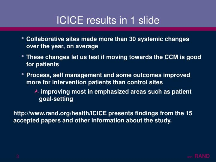 Icice results in 1 slide