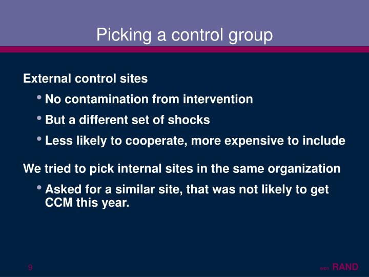 Picking a control group