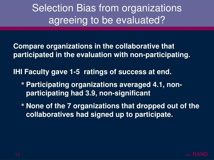 Selection Bias from organizations