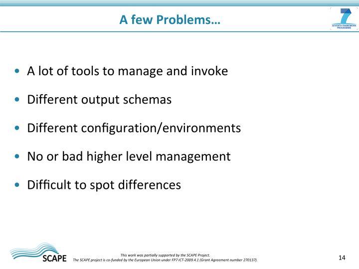 A few Problems…