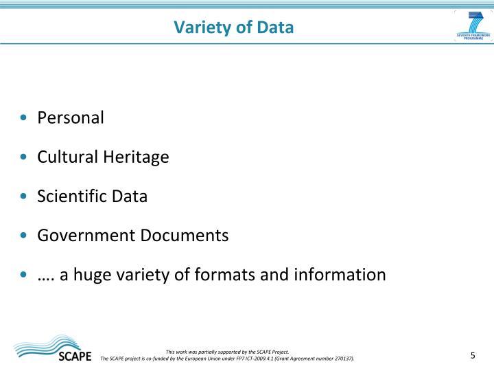 Variety of Data