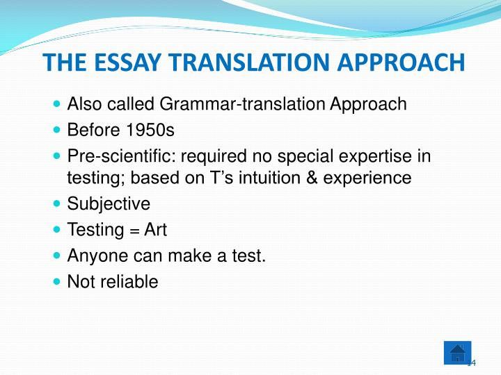 translation approaches essay Free translation service for online automatic translation of text and web pages, translating between many languages, including spanish, french, japanese, german.
