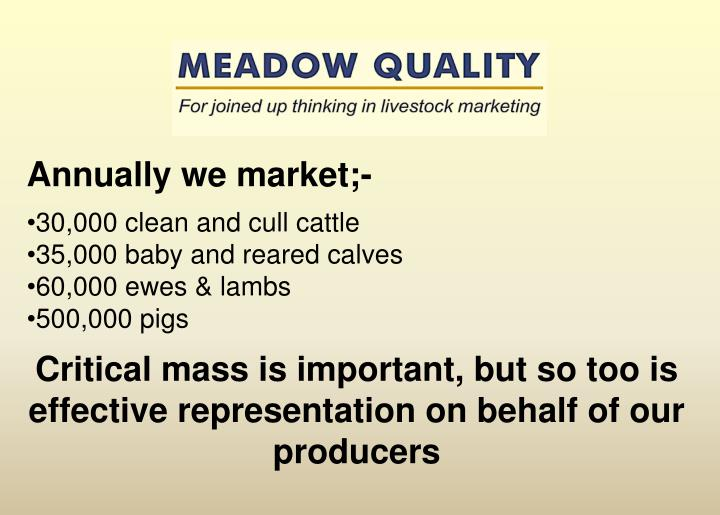 Annually we market;-