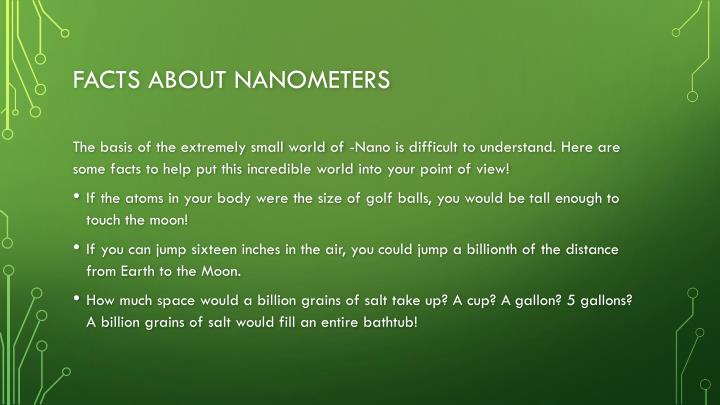 facts about nanometers