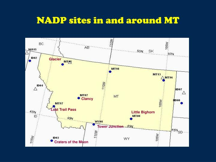 NADP sites in and around MT