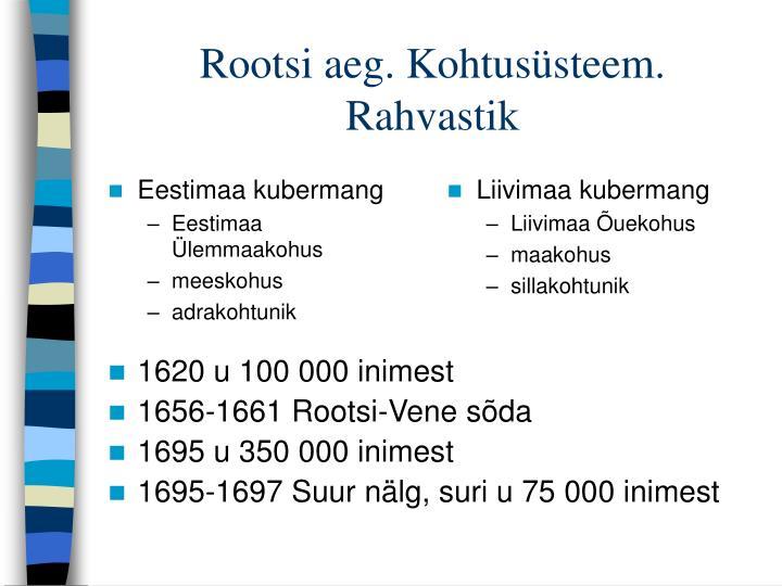 Rootsi aeg. Kohtusüsteem. Rahvastik