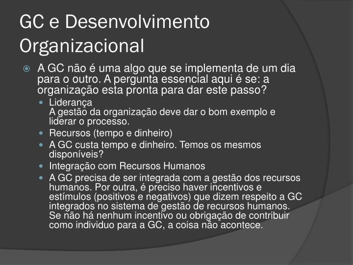 GC e Desenvolvimento Organizacional