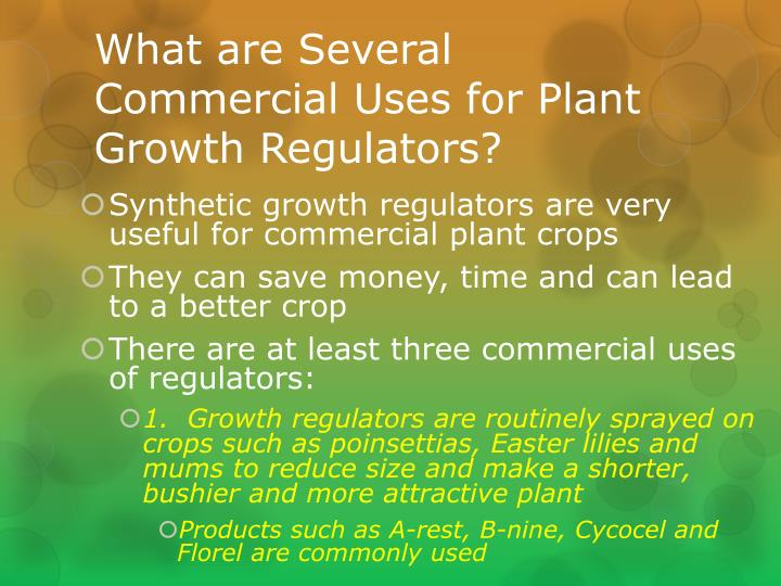What are Several Commercial Uses for Plant Growth Regulators?