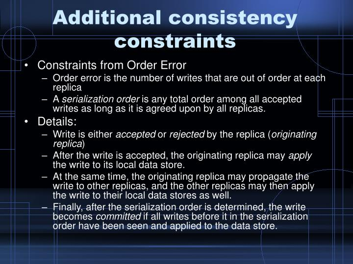 Additional consistency constraints
