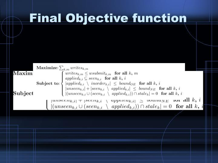Final Objective function