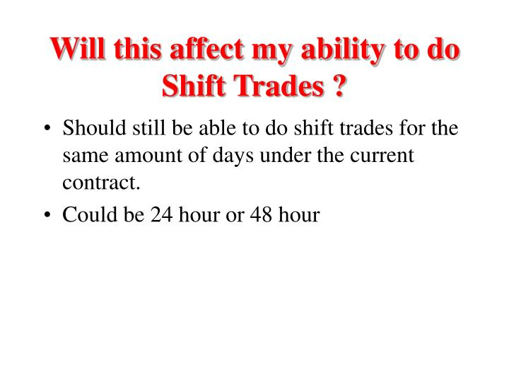 Will this affect my ability to do Shift Trades ?
