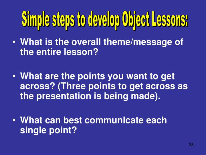 Simple steps to develop Object Lessons: