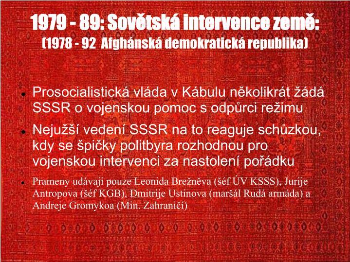 1979 - 89: Sovtsk intervence zem: