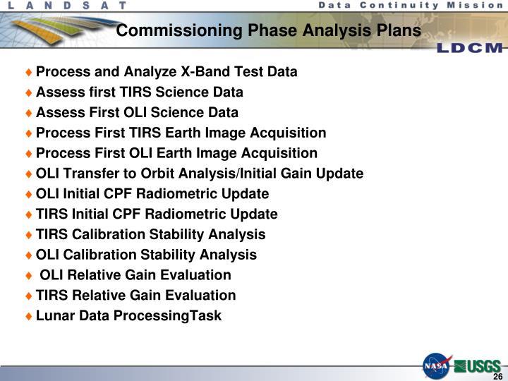 Commissioning Phase Analysis Plans