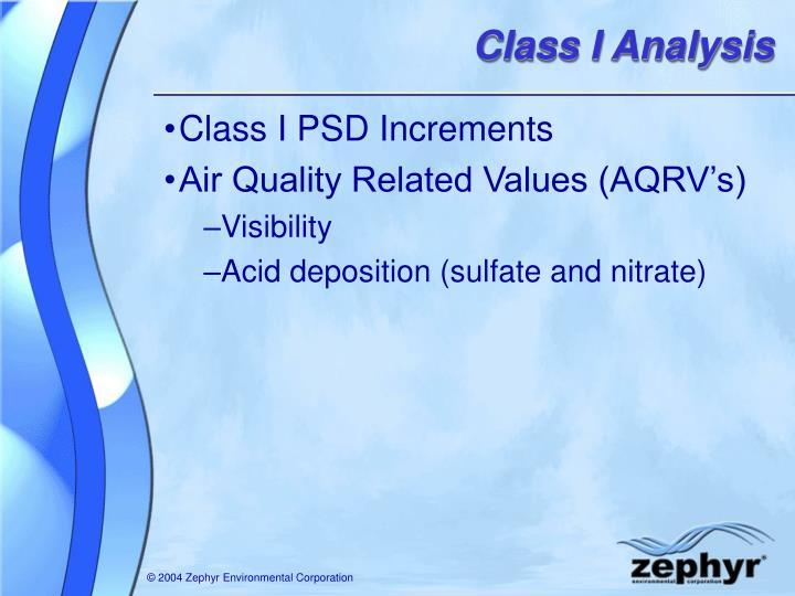 Class I Analysis