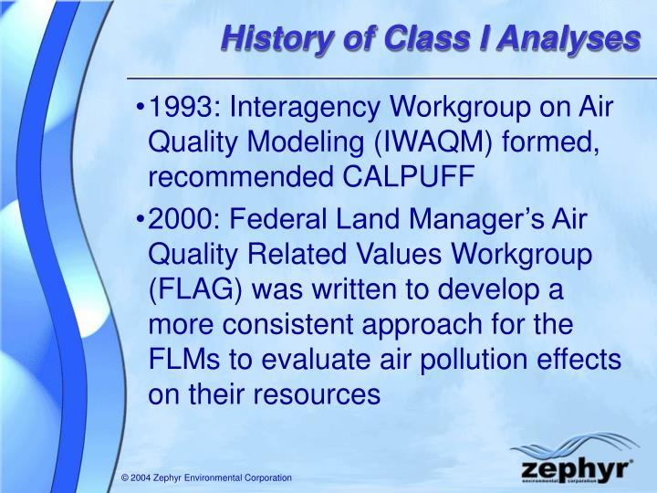 History of Class I Analyses