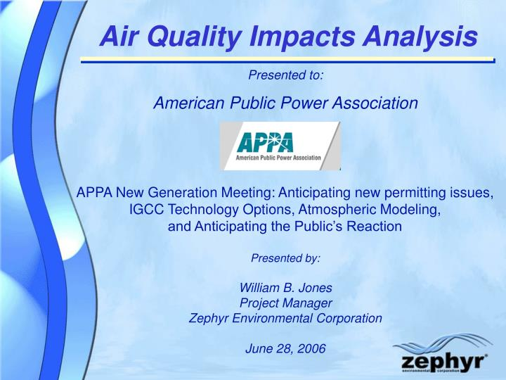 Air Quality Impacts Analysis