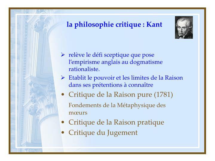 la philosophie critique : Kant