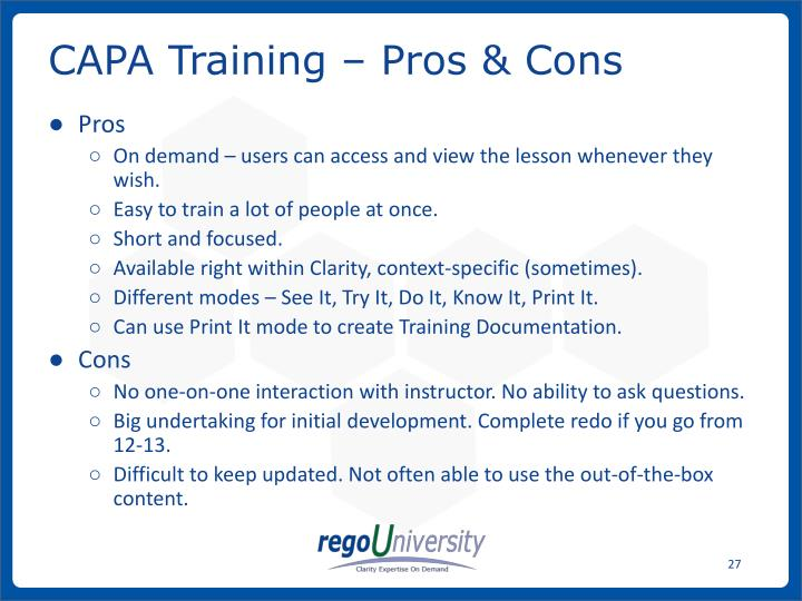 CAPA Training – Pros & Cons