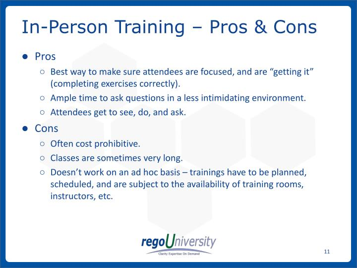 In-Person Training – Pros & Cons