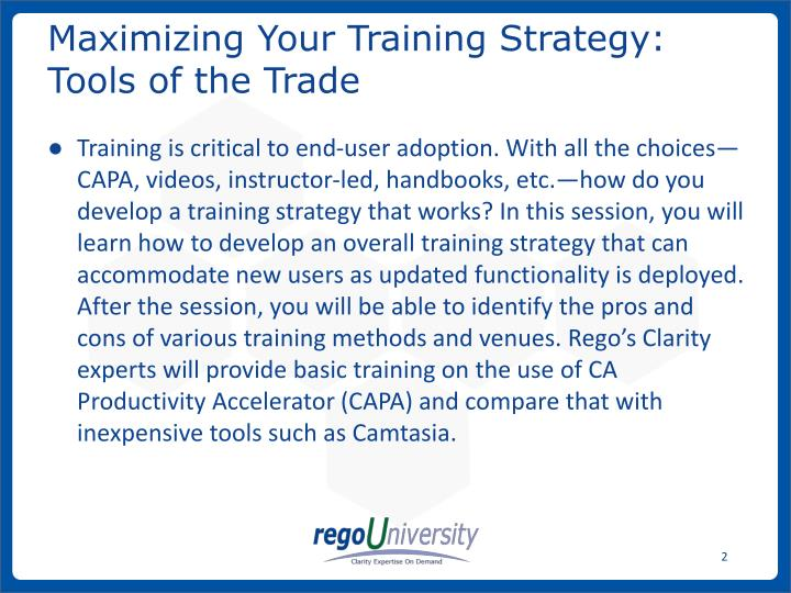 Maximizing your training strategy tools of the trade