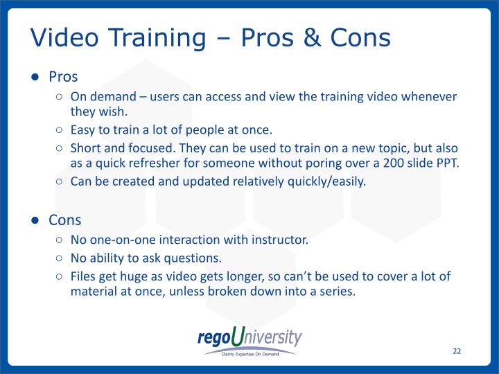 Video Training – Pros & Cons