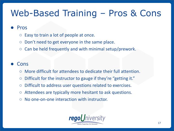 Web-Based Training – Pros & Cons