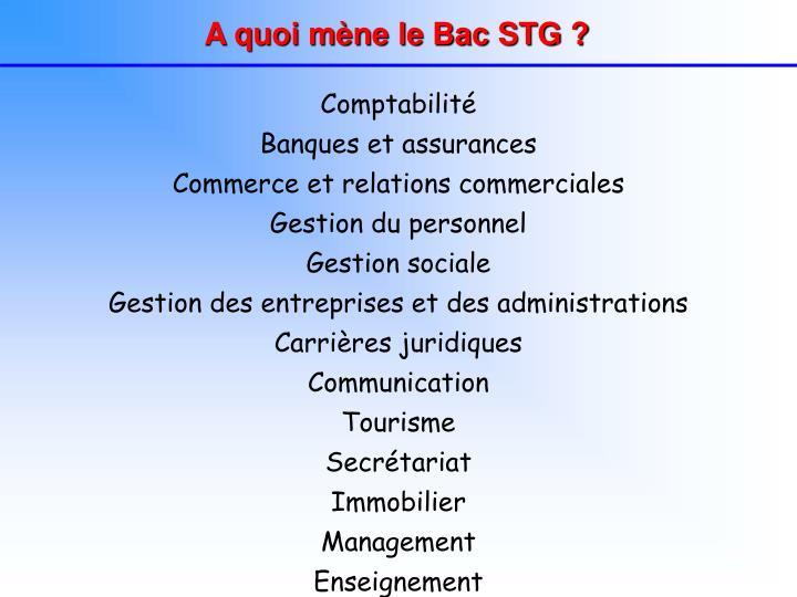 A quoi mène le Bac STG ?