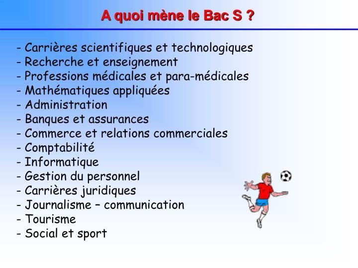 A quoi mène le Bac S ?