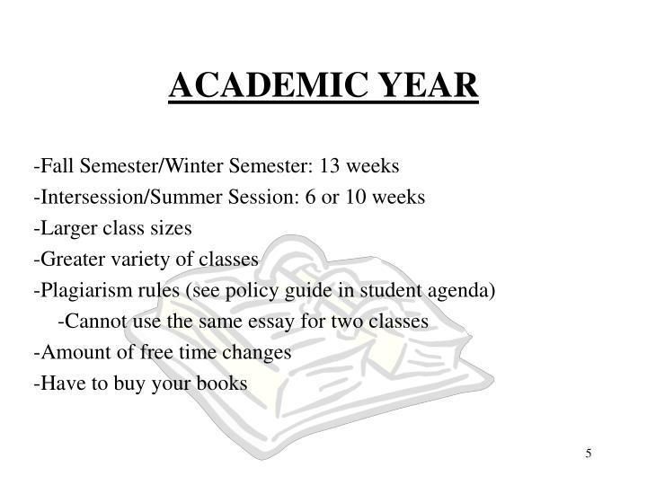 -Fall Semester/Winter Semester: 13 weeks