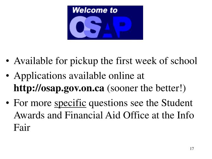 Available for pickup the first week of school