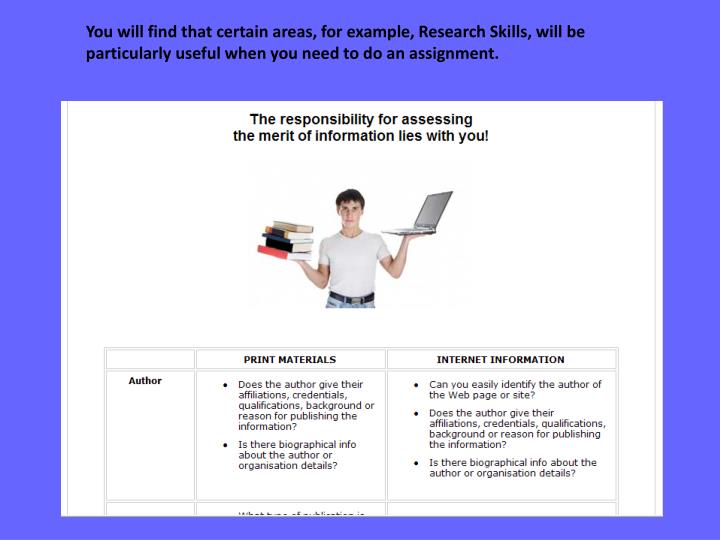 You will find that certain areas, for example, Research Skills, will be particularly useful when you need to do an assignment.
