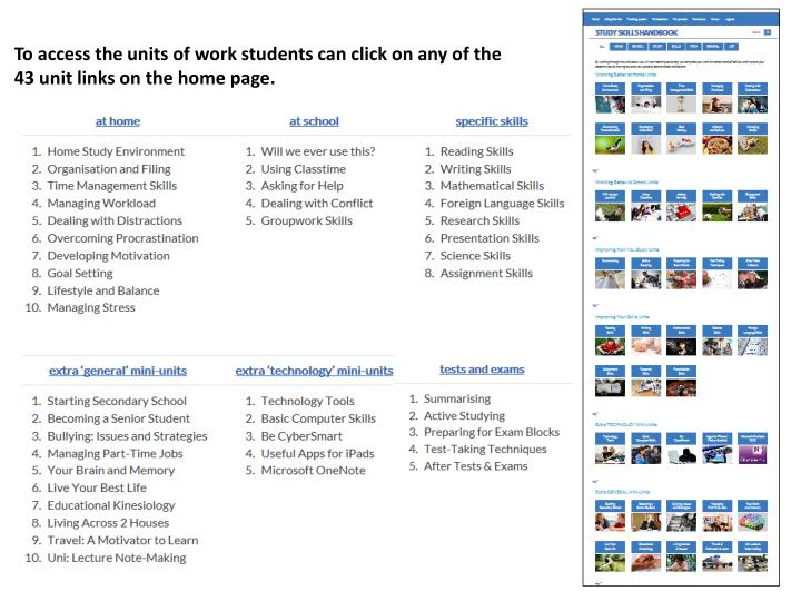 To access the units of work students can click on any of the 43 unit links on the home page.