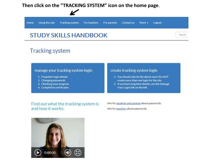 "Then click on the ""TRACKING SYSTEM"" icon on the home page"