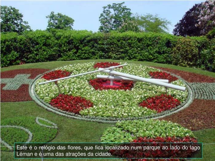 Este  o relgio das flores, que fica localizado num parque ao lado do lago Lman e  uma das atraes da cidade.