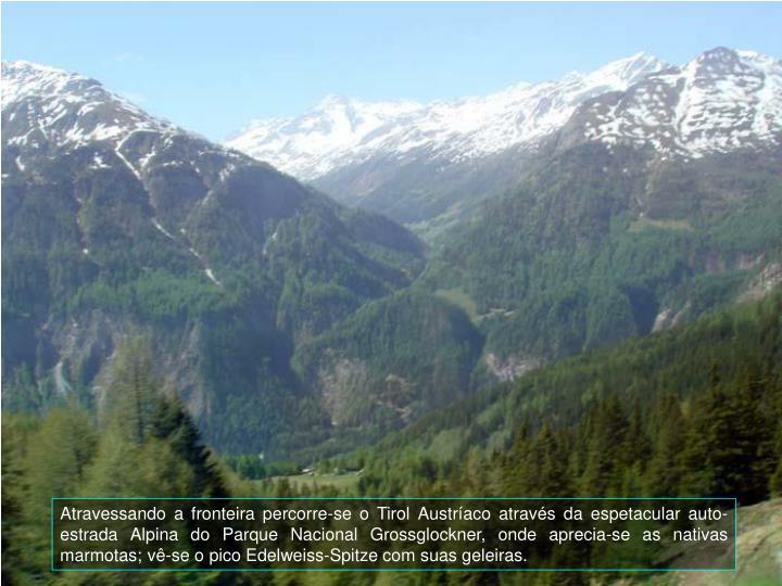 Atravessando a fronteira percorre-se o Tirol Austraco atravs da espetacular auto-estrada Alpina do Parque Nacional Grossglockner, onde aprecia-se as nativas marmotas; v-se o pico Edelweiss-Spitze com suas geleiras.