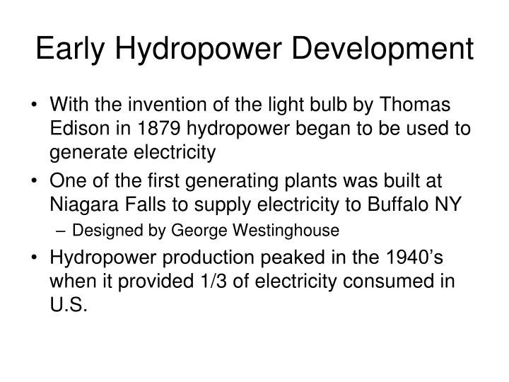Early Hydropower Development
