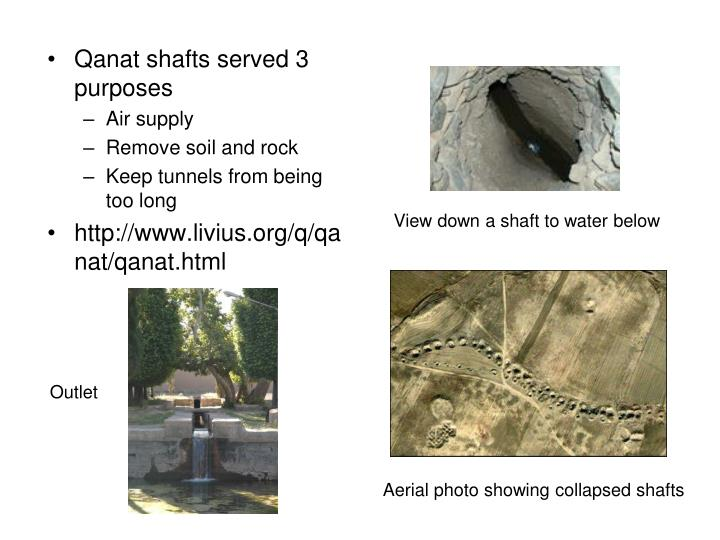 Qanat shafts served 3 purposes