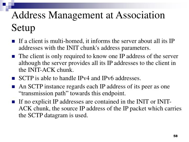 Address Management at Association Setup