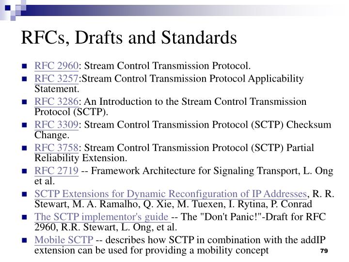 RFCs, Drafts and Standards