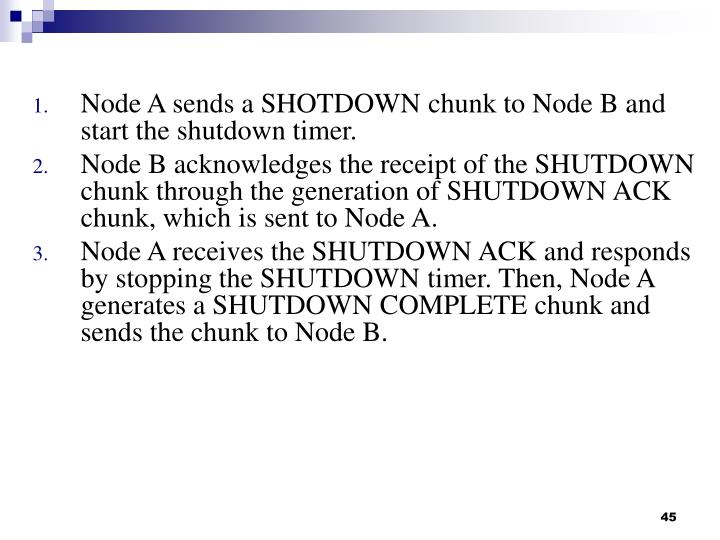 Node A sends a SHOTDOWN chunk to Node B and start the shutdown timer.