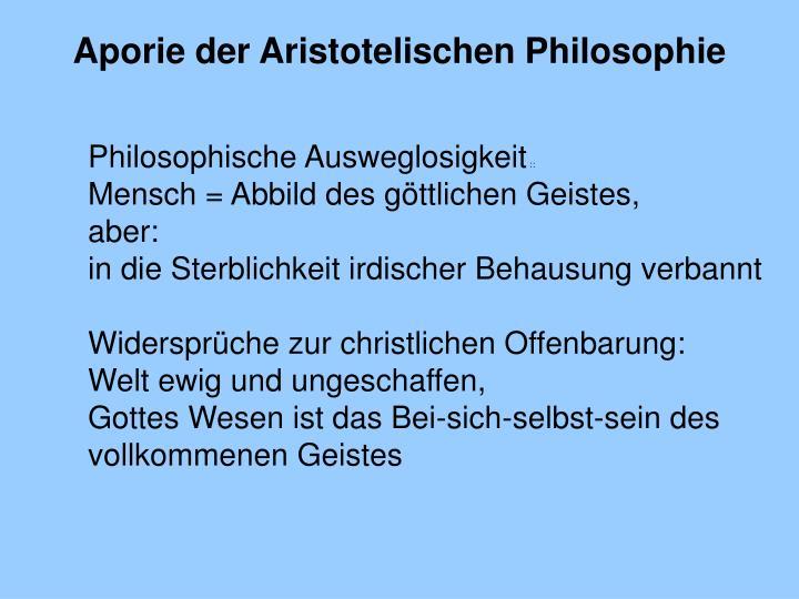 Aporie der Aristotelischen Philosophie