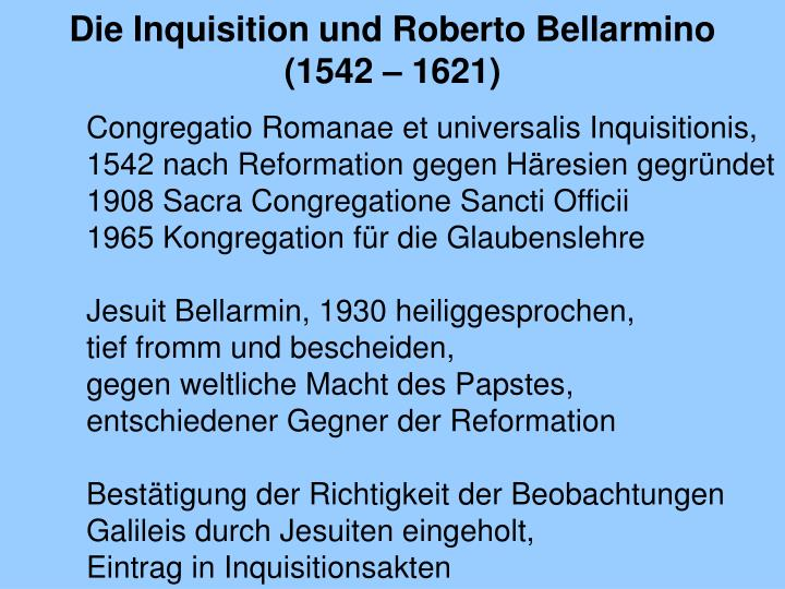 Die Inquisition und Roberto Bellarmino