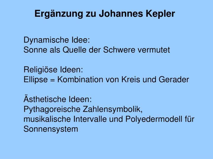 Ergänzung zu Johannes Kepler