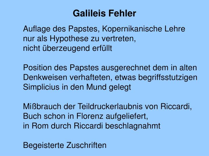 Galileis Fehler