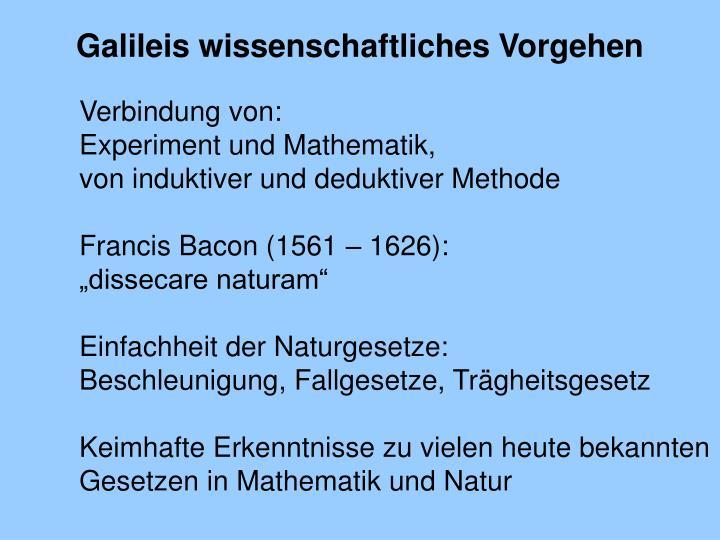 Galileis wissenschaftliches Vorgehen